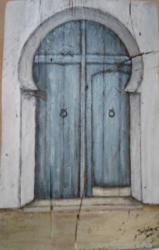 PORTE acrylique sur bois 19 X 30 cm - disponible - www.isabela.ovh