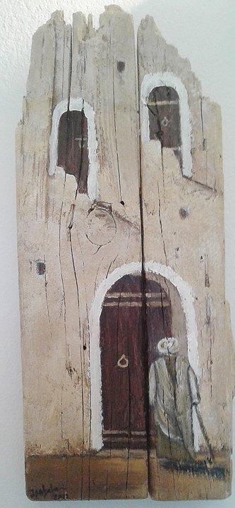 Le berbère dans les ksours, Peinture acrylique sur bois...