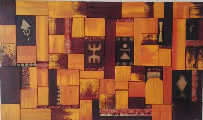 Installation Mariage peinture mixte sur bois -  format ...
