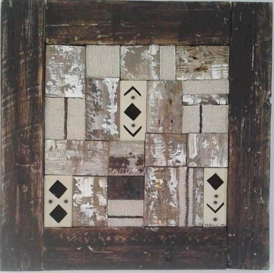 Installation berbère peinture mixte sur bois format 60X...