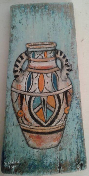 Poterie de Sejnene acrylique sur bois 17x34 cm - disponible - www.isabela.ovh